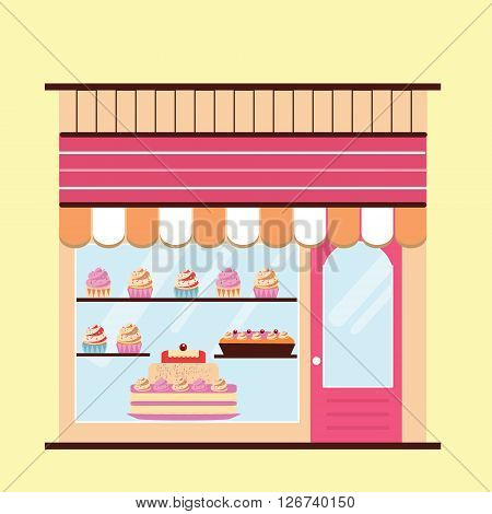 Bakery facade. Storefront view. Pattiserie candy shop icon with cakes and cupcakes