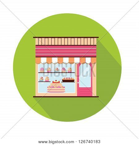 Bakery facade icon. Storefront view. Pattiserie candy shop icon with cakes and cupcakes. Flat style with long shadow