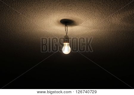A wire bulb hung in the roof.
