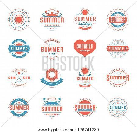 Summer Holidays Design Elements and Typography Set Retro and Vintage Templates. Labels and Badges, Beach Party Posters or Flyers Vector. Beach vacation, Travel and Tropical Paradise Adventure.