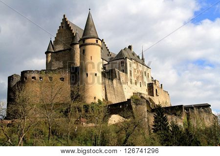 Castle in the village of Vianden in Luxembourg