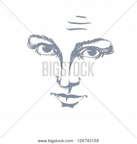 Vector Art Drawing, Portrait Of Gorgeous Girl With Wrinkles On Her Forehead. Facial Expressions, Peo