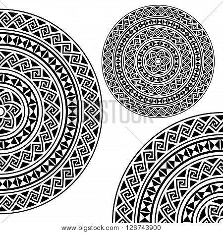 Monochromatic ethnic seamless textures. Round whole, half and quarter ornamental vector shape isolated on white. oriental arabesque pattern background. Vector illustration in black and white colors.