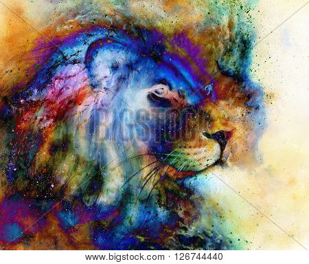 rainbow lion on beautiful colorful background with hint of space feeling, lion profile portrait
