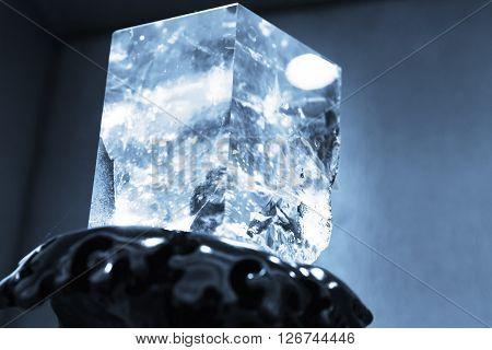 Blue Toned Photo Of Natural Transparent Quartz