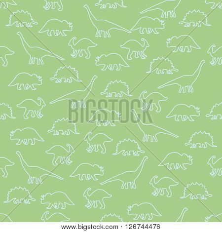 Vector illustration. Seamless ornamental background made of silhouettes of dinosaurs of different species on a green background.
