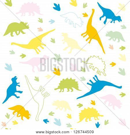 Vector illustration. Seamless pattern background of colorful silhouettes of dinosaurs of different species on a light background.