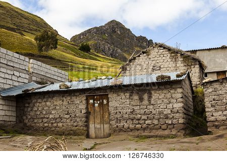 Typical house of adobe agrarian peasant rural area in the province of Cotopaxi Ecuador