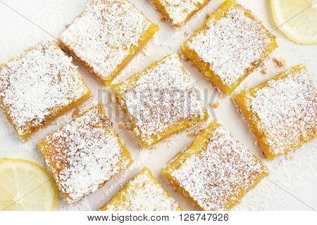 Baking lemon bars over baking paper top view