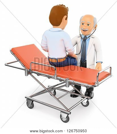3d medical people. Doctor auscultating a patient on a gurney. Isolated white background.