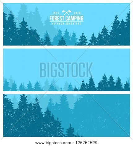Set of horizontal banners. Forest Panorama. Landscape depicting a forest. Camping in the woods. Forest Trail.