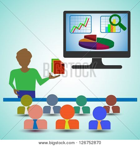Business Analyst/Man Presenting the Reportscharts and graphs and showing the data analytics also represents business people Looking the presentation of the financial report & Data analysis Graph.