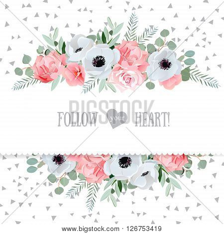Anemone rose pink flowers and decorative eucaliptus leaves vector mirrored design card. Speckled triangle confetti backdrop. All elements are isolated and editable.