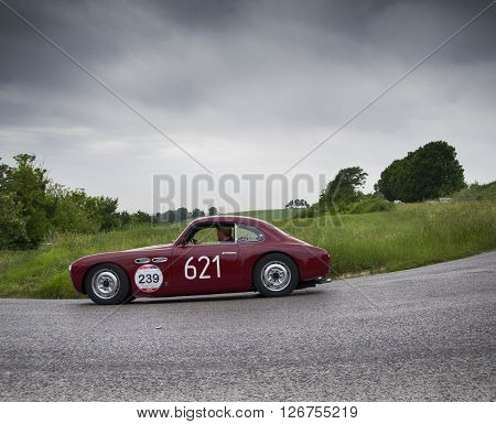 PESARO, ITALY - MAY 15: CISITALIA 202 D 2800 cc 1952  on an old racing car in rally Mille Miglia 2015 the famous italian historical race (1927-1957) on May 2015
