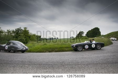 PESARO, ITALY - MAY 15: PORSCHE 356 1500 Speedster 1955 on an old racing car in rally Mille Miglia 2015 the famous italian historical race (1927-1957) on May 2015
