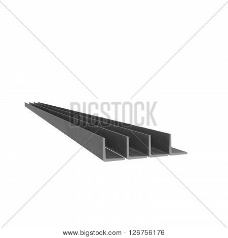 Metal corner beams isolated at white background