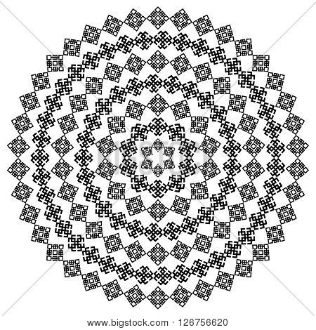 Monochromatic ethnic seamless textures. Round ornamental vector shape isolated on white. oriental arabesque pattern background. Vector illustration in black and white colors.