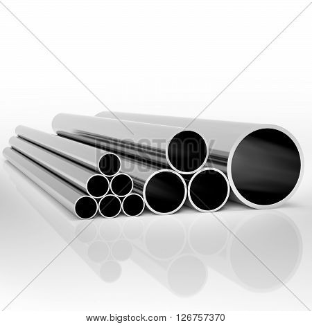 Folded industrial metal pipes of different sizes at white background 3d illustration