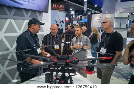 LAS VEGAS - April 18, 2016: DJI Introduces Next-Generation Matrice 600 Aerial Platform at DJI booth at NAB 2016 in Las Vegas Convention Center.