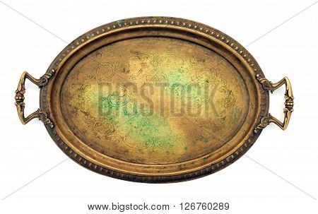Vintage decorated brass tray with handles at white background