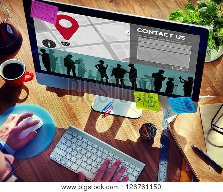 Contact Us Communication Customer Service Address Concept