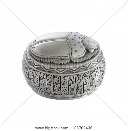 Egyptian jewellery box with scarab cover (diameter approx 10 cm) isolated on white.