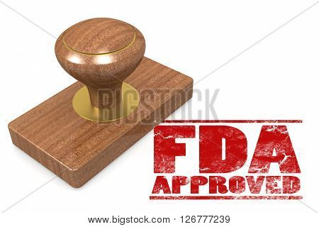 FDA approved red rubber stamp image with hi-res rendered artwork that could be used for any graphic design. 3D rendering