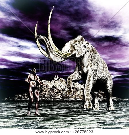 Mammoth With Prehistoric Man