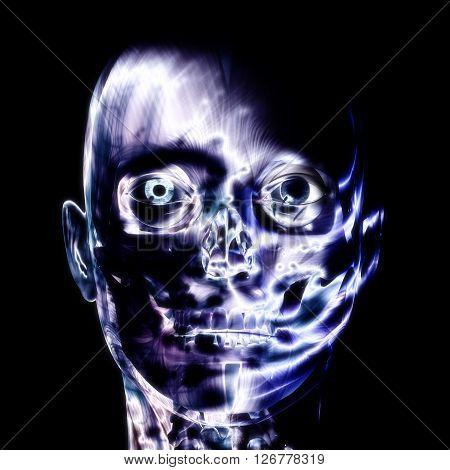 3D Illustration, 3D Rendering Of A Human Skull