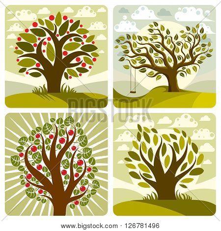Vector art green fruity trees with swing on beautiful cloudy spring landscape. Setting sun with sunbeams view season theme illustrations collection.