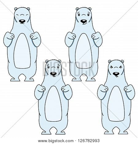 Polar bear with different facial expressions. Colored vector illustration isolated on white. Cute cartoon style animal is smiling and frowning. Content, aloof and angry expression