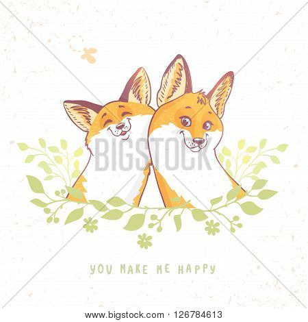 Cute and funny cartoon two beautiful fox. Character happy fox. Vector illustration