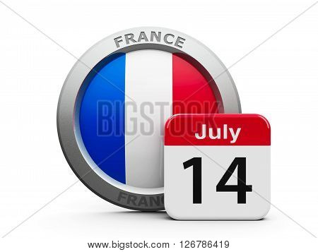 Emblem of France with calendar button - The Fourteenth of July - represents national french holiday - The Bastille Day three-dimensional rendering 3D illustration