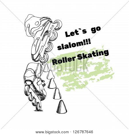 Vector illustration of set for Roller Skates with text. Isolated logo  hand drawn elements for logo. Let is go slalom. Roller Skating
