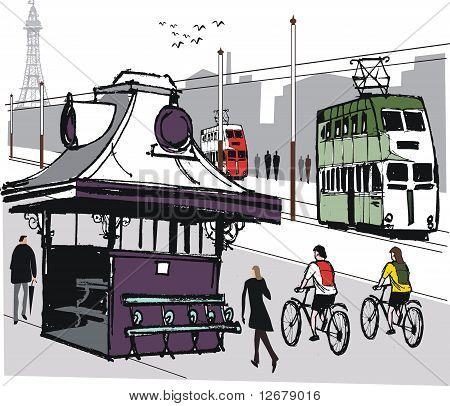 Blackpool seafront illustration, England