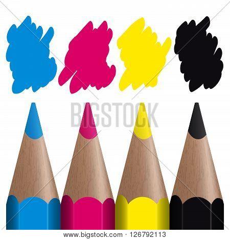 four colored pencils showing CMYK color management