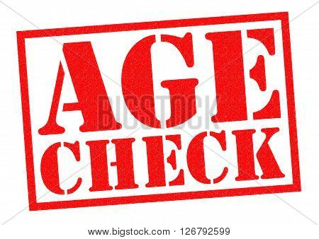 AGE CHECK red Rubber Stamp over a white background.