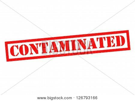 CONTAMINATED red Rubber Stamp over a white background.