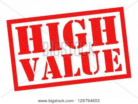 HIGH VALUE red Rubber Stamp over a white background.