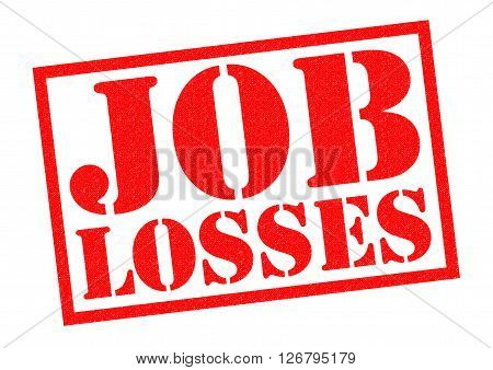 JOB LOSSES red Rubber Stamp over a white background.
