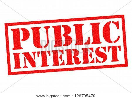PUBLIC INTEREST red Rubber Stamp over a white background.