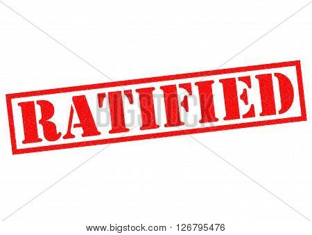 RATIFIED red Rubber Stamp over a white background.