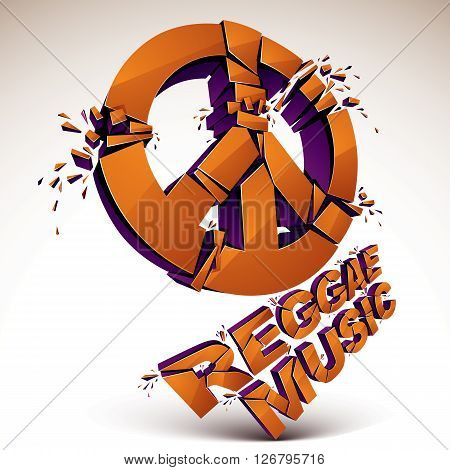 Orange 3D Vector Peace Sign Created From Refractions Isolated On White. Three-dimensional Transform