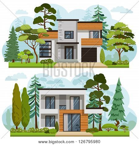 Set of two family houses in modern style with landscaping. Trees bushes lawn. Sweet home banners for you architecture design.