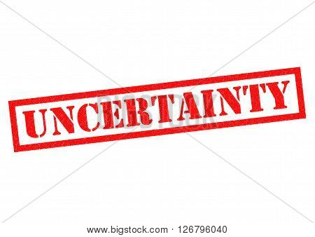UNCERTAINTY red Rubber Stamp over a white background.