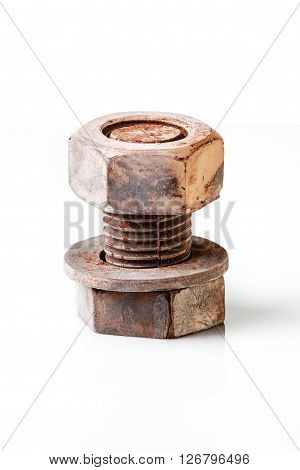 Chocolate bolt and nut isolated on white background, isolated