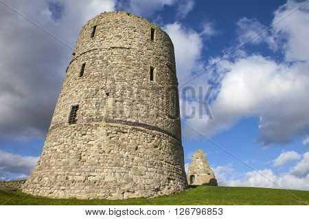A view of the historic ruins of Hadleigh Castle in Essex England.