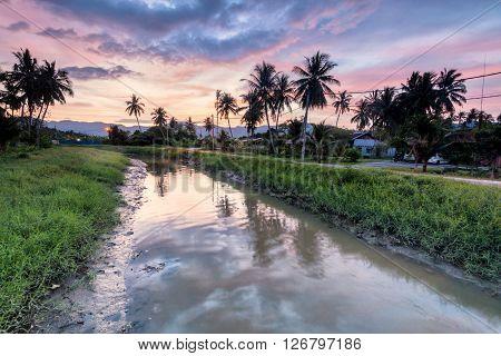 Amazing Sunrise in Balik Pulau, Penang, Malaysia