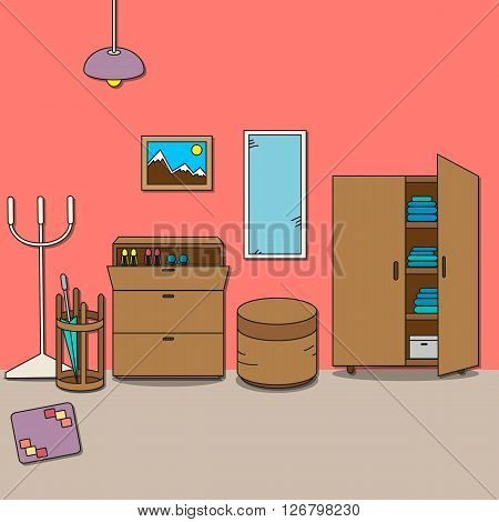 Design of room - hallway with wardrobe cupboard for shoes ottoman mirror rack umbrella-stand lamp picture and rug. Vector illustration for interior.