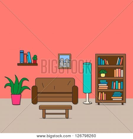 Design of room - sitting room with sofa lamp bookcase shelf with books table flowers and photo. Vector illustration for interior.